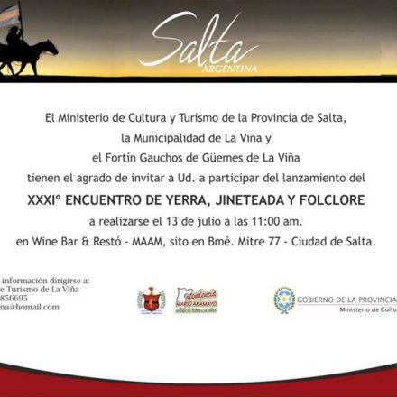 Lanzamiento – XXXIª Encuentro de Yerra, Jineteada y Folclore