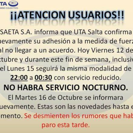 Saeta confirma su adhesión al paro convocado por la UTA