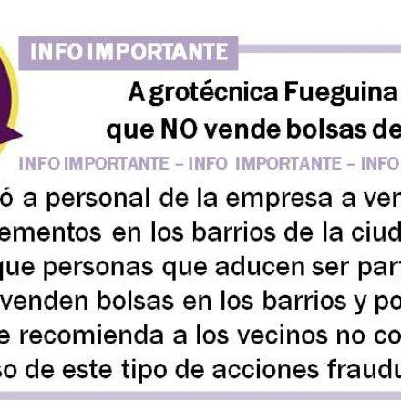 Agrotécnica Fueguina recuerda que no vende bolsas