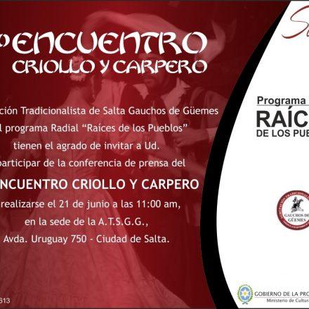 Presentarán el 7º Encuentro Criollo y Carpero de Vaqueros