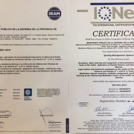 Gestión de Calidad: El Centro de Mediación del Ministerio Público de la Defensa certificó la norma IRAM-ISO 9001:2015