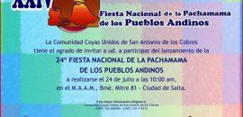 Mañana se lanzará la Fiesta Nacional de la Pachamama de los Pueblos Andinos