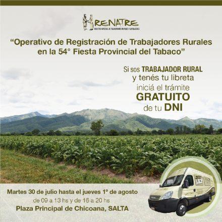 El RENATRE registrará trabajadores rurales del tabaco y gestionará trámites del DNI en Salta