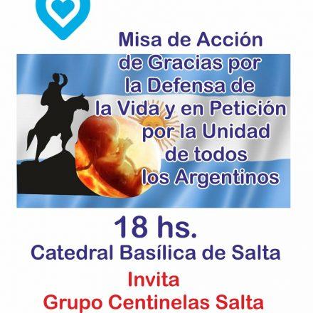 Grupo Centinela Salta invita a Misa de Acción de gracias