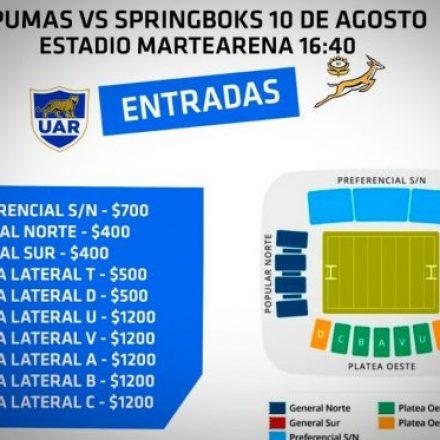 Venta de entradas para el encuentro de Los Pumas vs Springboks