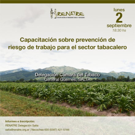 El RENATRE ofrecerá un ciclo de capacitaciones sobre prevención de riesgo de trabajo en Salta