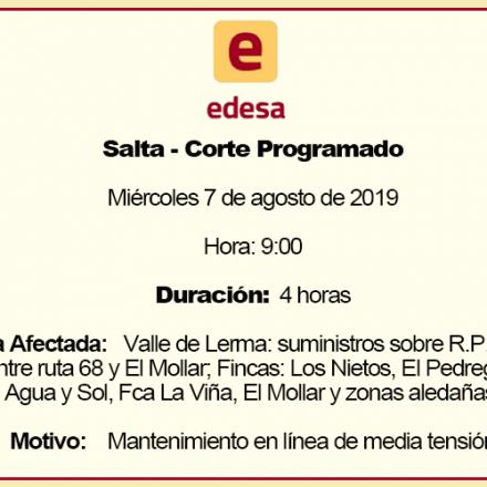 EDESA anuncia un corte programado para Salta Capital