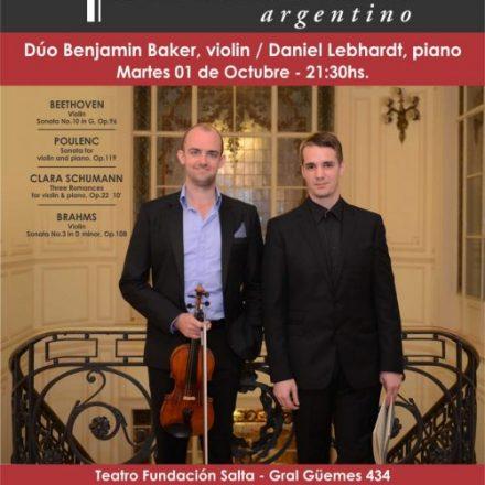 Atractivo Programa brindará el Dúo de violín y piano Baker – Lebhardt