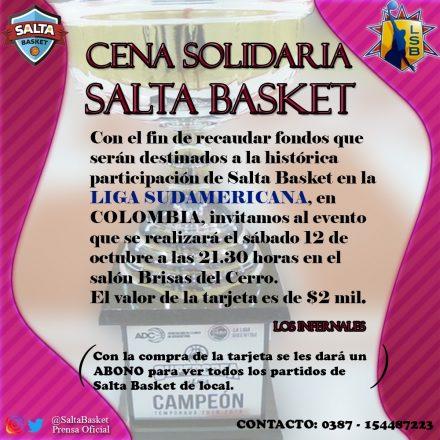 Cena Solidaria de Los Infernales de Salta Basket en pos del sueño sudamericano