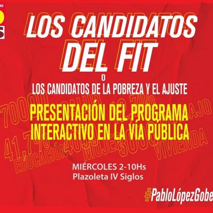 La Lista Unidad del Frente de Izquierda y el Partido Obrero realizarán el cierre de campaña