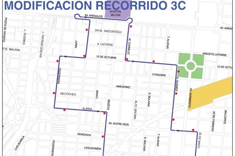 Desde el lunes los coches del 3C pasarán por calle Pedernera