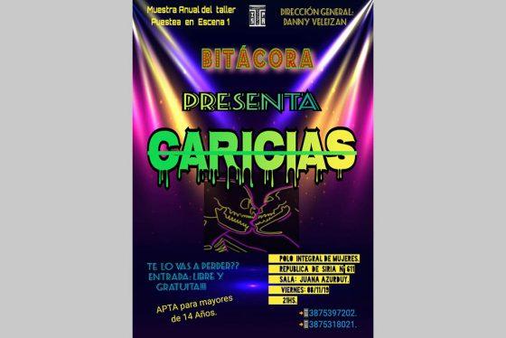 La obra teatral Caricias se presentará este viernes en el Polo Integral de las Mujeres