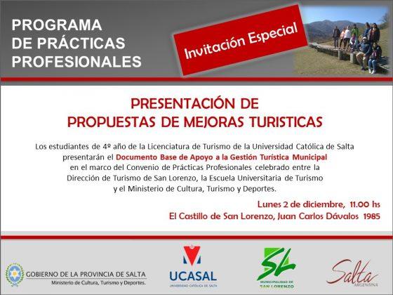Alumnos de turismo presentarán propuestas de mejoras turísticas para la localidad de San Lorenzo