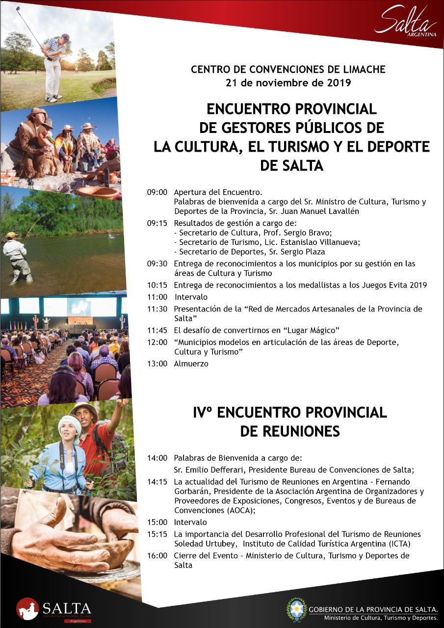 Se realizará el 3º Encuentro Provincial de Gestores Públicos de Cultura, Turismo y Deportes de Salta