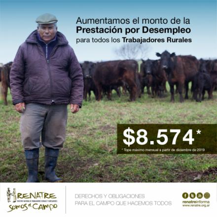 El RENATRE aumentó su Prestación por Desempleo a $8.574