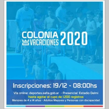 Inscripciones para la Colonia de Vacaciones de la Secretaría de Deportes