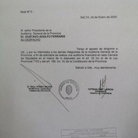 El presidente de la Cámara de Diputados solicitó una auditoria financiera de la Cámara a la Auditoria General de la Provincia