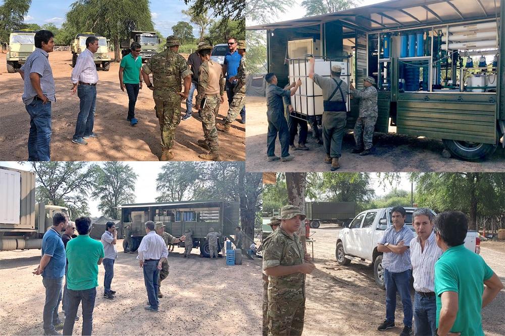 Provincia, Ejército y Municipio de Santa Victoria Este ya se encuentran trabajando en la  distribución inmediata del agua