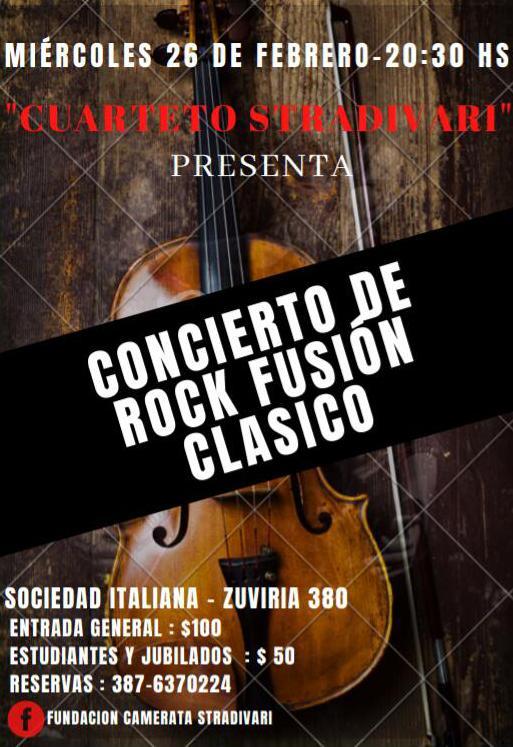 """Se viene el concierto """"Rock-Fusión-Clásica, junto a la Camerata Stradivari"""