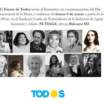 El Frente de Todos conmemorará el Día de la Mujer con un multitudinario encuentro