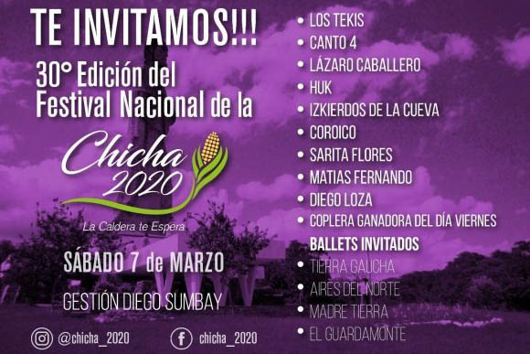 Este fin de semana se realizará el Festival Nacional de La Chicha