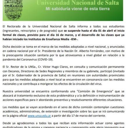 La UNSa prorrogó el inicio de clases para el día miércoles 1 de abril