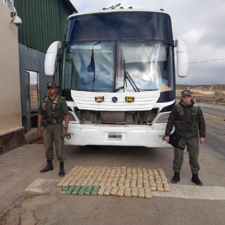 Gendarmería incautó 42 kilos de hojas de coca ocultas en el interior de un ómnibus