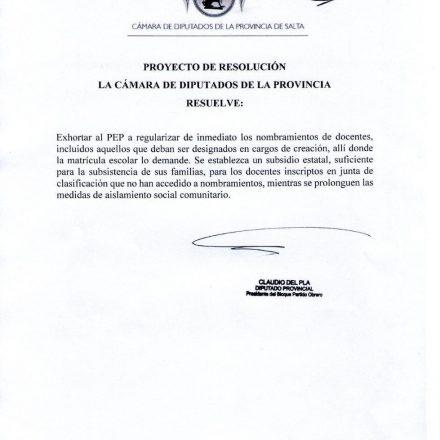 El PO reclama nombramiento a docentes y subsidio para docentes sin nombramiento en cuarentena