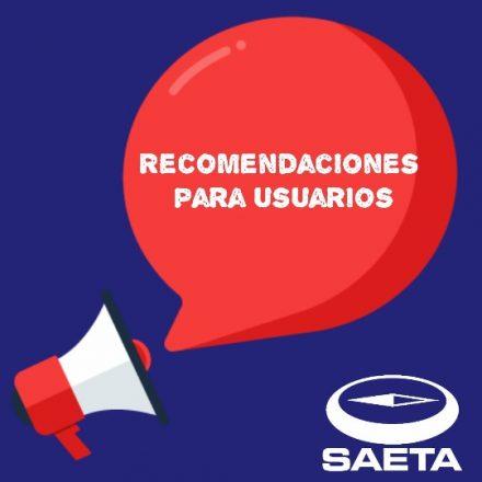 SAETA emitió recomendaciones para los usuarios del transporte público urbano