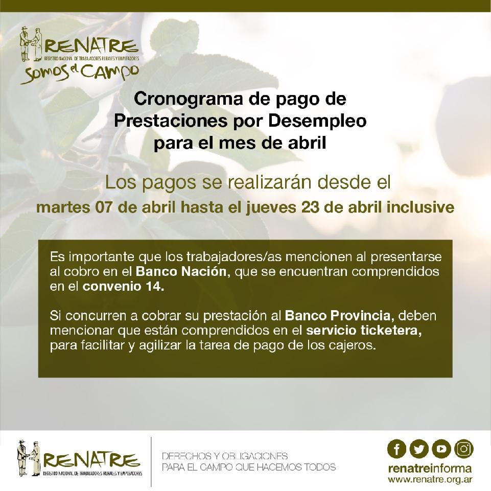 El RENATRE realizará los pagos de la Prestación por Desempleo del 7 al 23 de abril inclusive