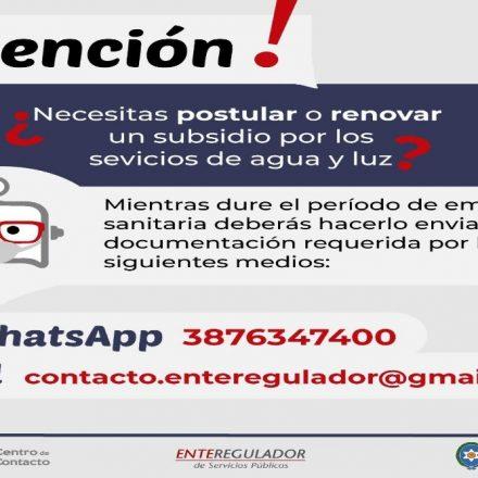 Los trámites de  renovaciones o postulaciones del subsidio de agua y luz se pueden realizar por whatsapp o correo electrónico