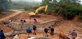 Continúa la contrucción de un puente sobre la ruta provincial 19 en Isla de Cañas