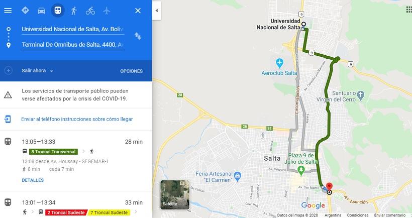 Ya se puede acceder a los recorridos y horarios de los colectivos de SAETA a través de Google Maps