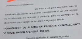 Venta de plasma: investigan si se cometió delito al facturar las transfusiones